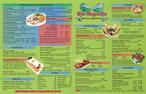 Dos Margaritas in Jasper menu 2017