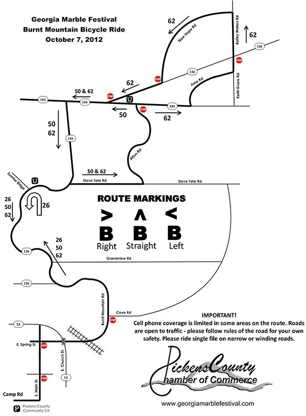 Burnt Mountain Road Bicycle Ride Map