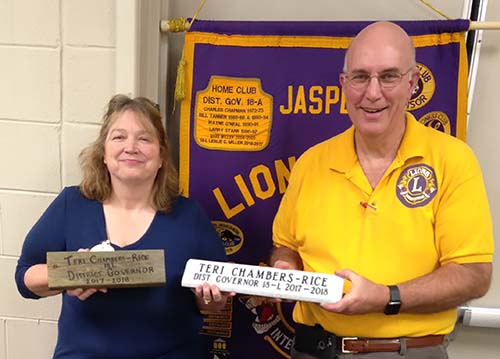District Governor Teri Chambers Rice Attends Jasper Lions Club Meeting