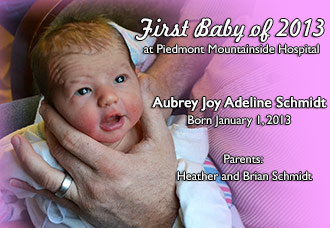 Aubrey Joy Adeline Schmidt is First Baby of 2013