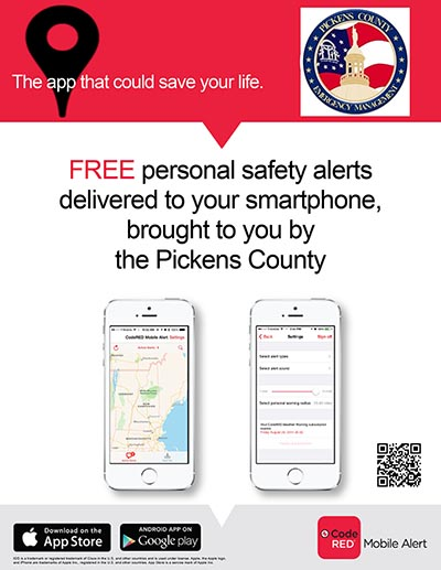 Pickens County to Use CodeRED Mobile Alert App for Emergency Notification