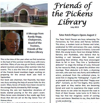 Friends of the Pickens Library July 2013 Newsletter