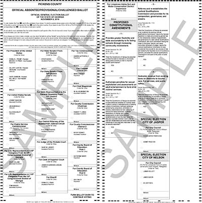 Sample Ballot for the November 8th General Election