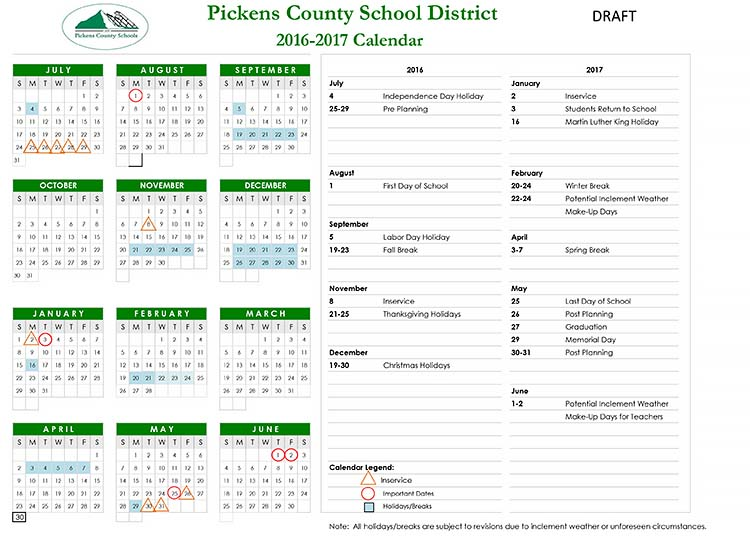 ... Pickens County School District 2016-2017 Calendar