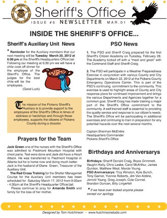Pickens Sheriff's Office March Newsletter
