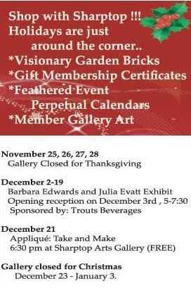 Holiday 'Happenings' at the Sharptop Art Gallery