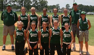 Pickens County 14 & Under Girls Softball Team at State Tournament