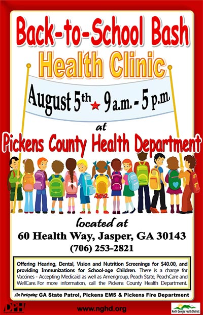 Pickens County Health Department presents BACK-TO-SCHOOL BASH Health Clinic