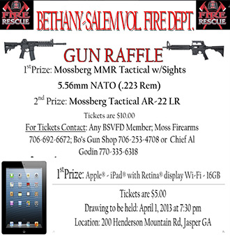 Bethany-Salem Volunteer Fire Department Announces Two Raffle Drawings