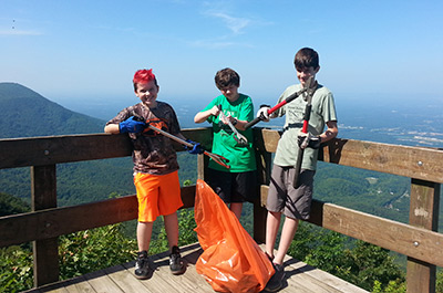 Boy Scouts from Troop 1883 Cleaned Trails on National Trails Day