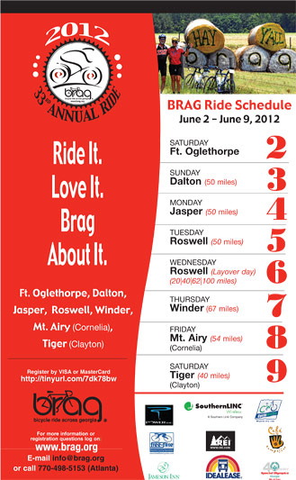 BRAG (Bicycle Ride Across Georgia) coming to Jasper June 4, 2012