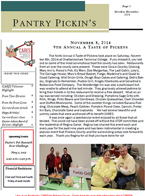 CARES Pantry Pickins' October-December 2014 Newsletter