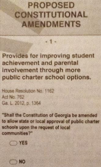 OPINION:  Vote No on Amendment 1 (Charter School Amendment)