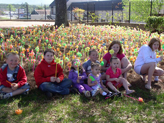 Pickens Family Partners Placed 439 Pinwheels on the Courthouse Lawn for National Child Abuse Prevention Month