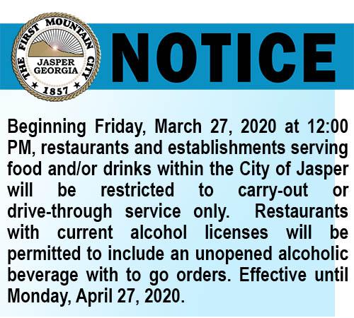 Dining In Not Allowed at City of Jasper Restaurants Beginning Friday, March 27th