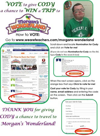 Vote for Cody to Win A Trip to Morgan's Wonderland