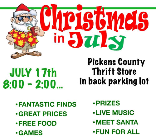 Christmas In July Comes to Pickens Thrift Store