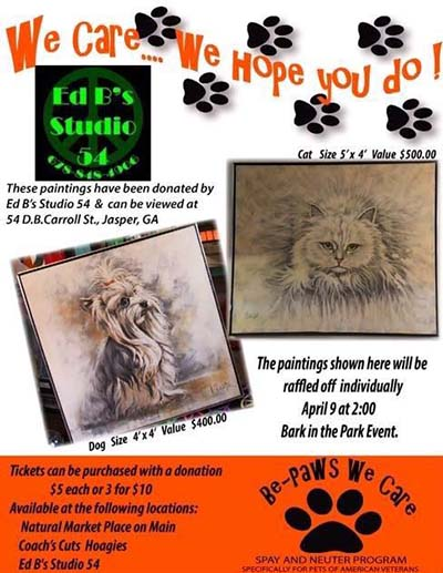 Ed B's Studio 54 Donating Paintings for Raffle to Benefit Pets of American Veterans