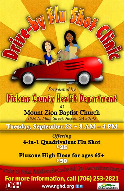 Drive-by Flu Shot Clinic in Pickens is September 22nd