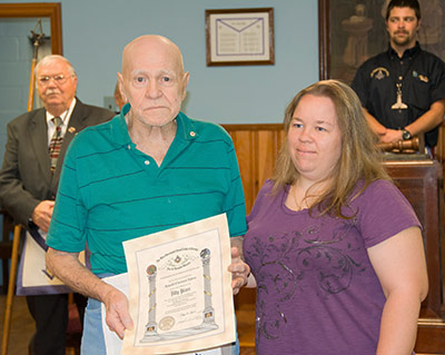 Lodge Honors Member at Family Night