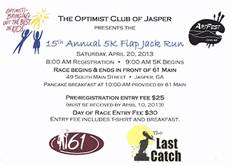 Register Now for the 15th Annual 5K FlapJack Run on April 20th