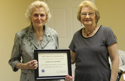 Town of Talking Rock Recognized Oldest Resident Jessie Godfrey