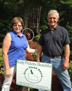 Judy and Jerry Wilson Received Keep Pickens Beautiful June Green Thumb Award