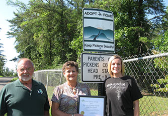 Parents of Pickens County Head Start/Pre-K Receive First Award For Keep Pickens Beautiful Adopt-A-Road Program