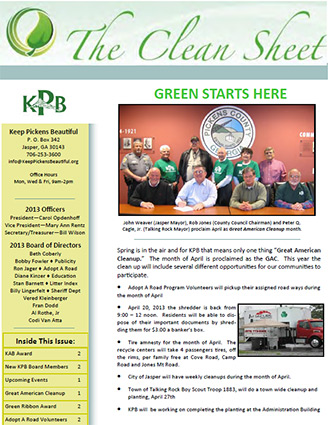 Keep Pickens Beautiful Spring Newsletter
