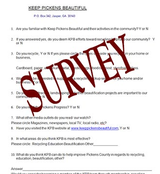 Keep Pickens Beautiful Conducting A Survey