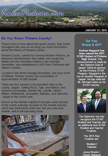 KnowPickens eNewsletter - Do You 'Know' Pickens County?