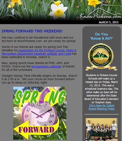 KnowPickens eNewsletter - Who's Ready For Spring?