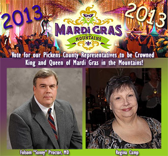 Vote for our Pickens County Representatives to be Crowned King and Queen of Mardi Gras in the Mountains!