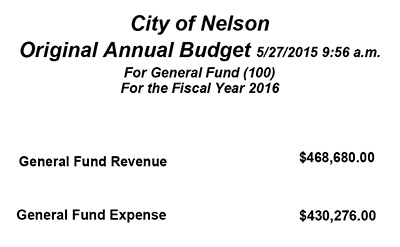 City of Nelson Proposed FY 2016 Budget