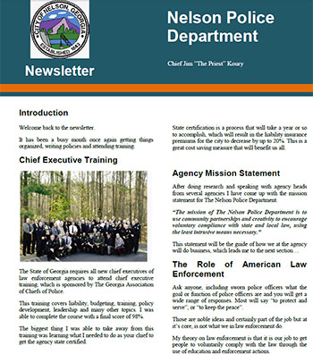 Nelson Police Department Newsletter