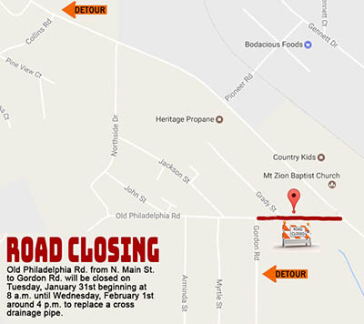 NOTICE:   Portions of Old Philadelphia Road Closed