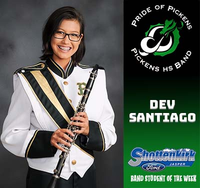 Dev Santiago Named PHS Band Student of the Week