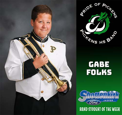 Gabe Folks Named PHS Band Student of the Week