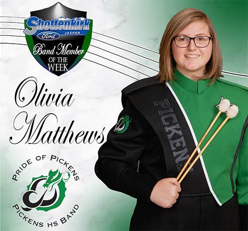 Olivia Matthews Named PHS Band Student of the Week