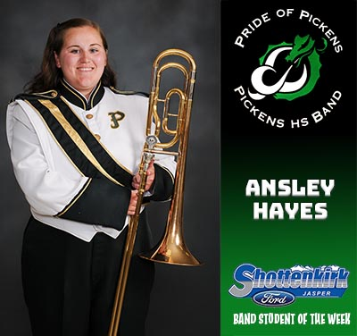 Ansley Hayes Named PHS Band Student of the Week