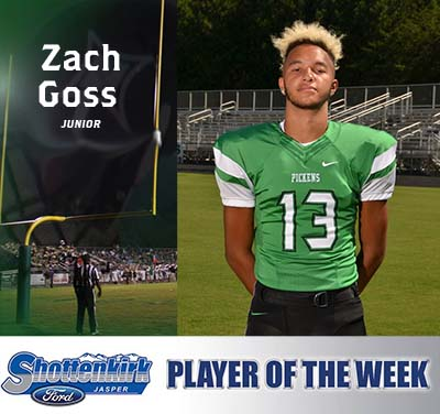 Zach Goss Named Pickens Football Player of the Week