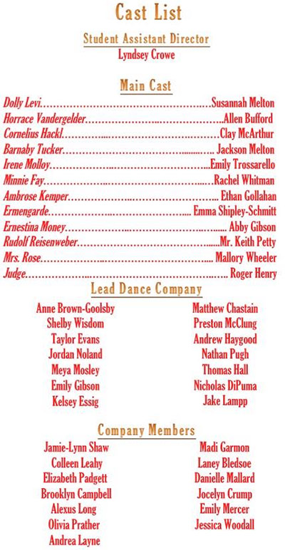 PHS Theatre Announces the Cast of Spring Production of 'Hello Dolly'
