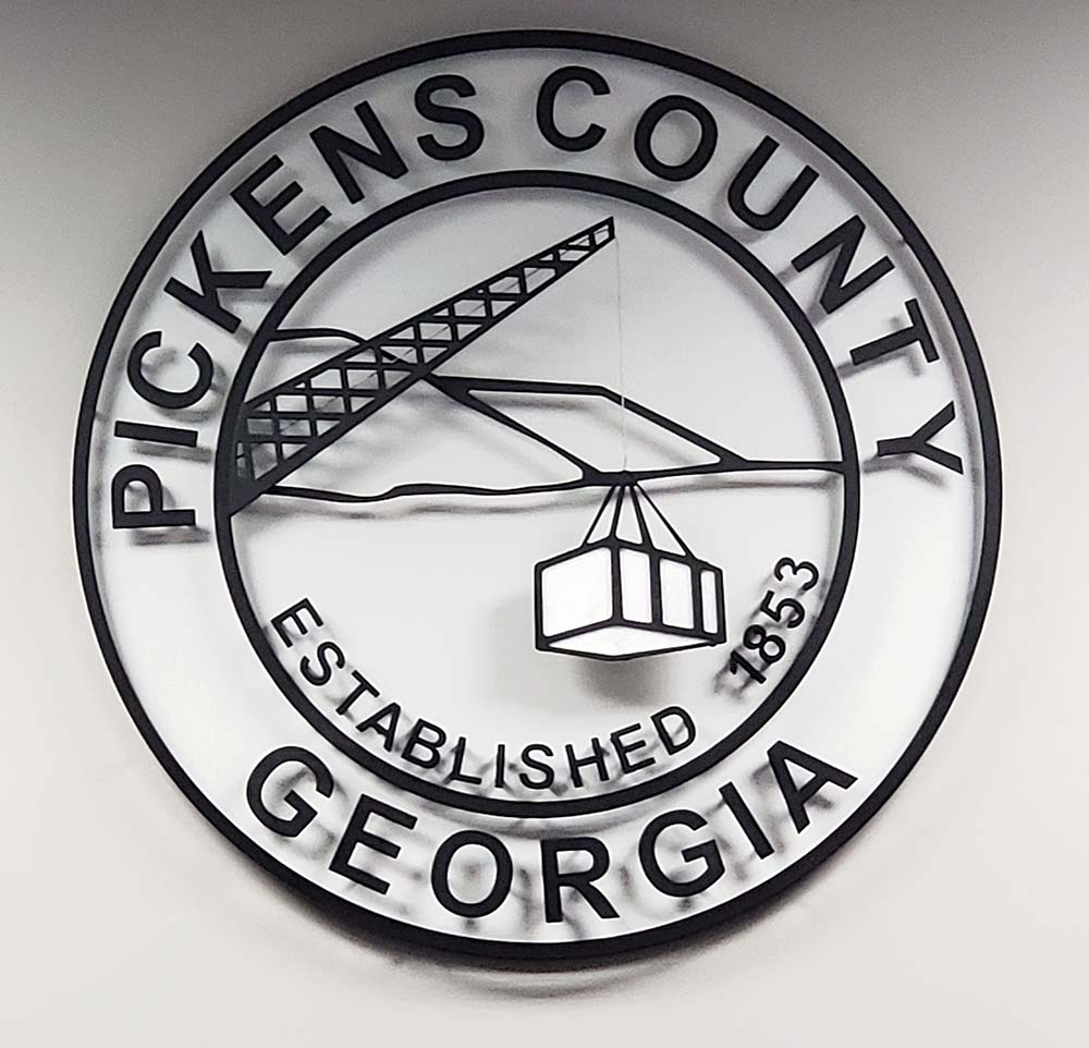 New seal for Pickens County made by Mark Maddox of Maddox Metal Works.  Includes real marble.