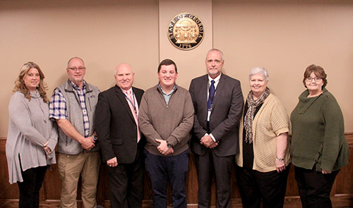 2019 School Board (L-R):  Katherine White (Vice Chair), Steve Smith, Superintendent Dr. Carlton Wilson, Tucker Green (Chair), Assistant Superintendent Tony Young, Sue Finley, and Joeta Youngblood