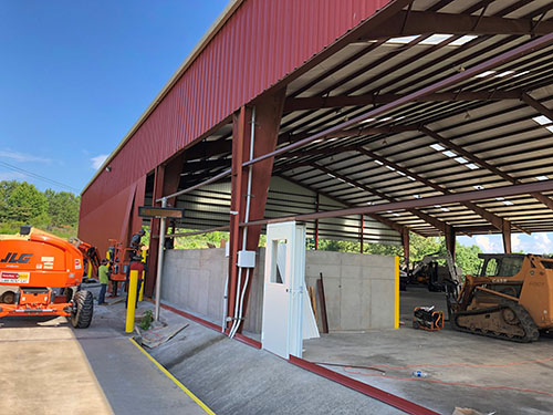 Crews working to make modifications at the new Recycling Center.