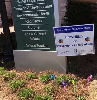 PCAPickens Planted Pinwheel Garden at County Administrative Building
