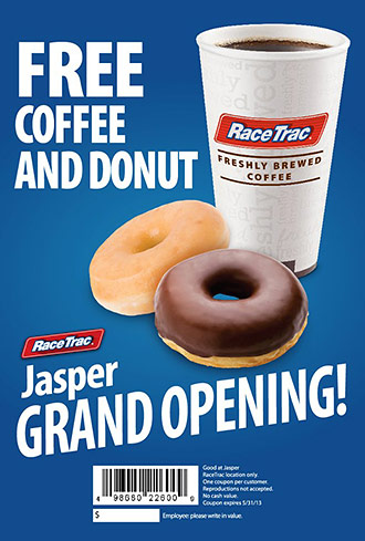 Enjoy FREE Coffee and a Donut with Jasper RaceTrac's RT6K Grand Opening