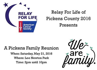 Relay For Life of Pickens County on May 21st