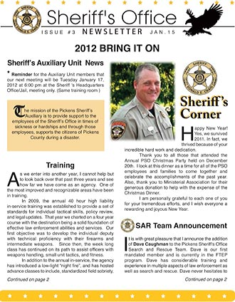 Pickens Sheriff's Office January Newsletter
