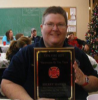 Sherry Maddox awarded Tate Fire Department's Volunteer of the Year